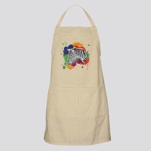 Zebra with Colorful Splash Apron