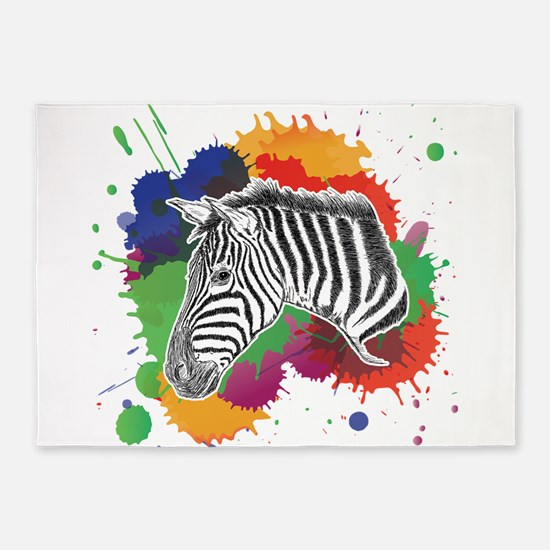 Zebra with Colorful Splash 5'x7'Area Rug