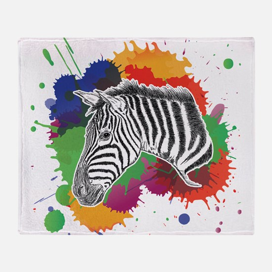 Zebra with Colorful Splash Throw Blanket