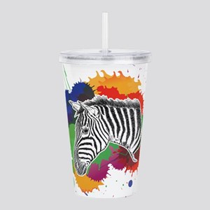 Zebra with Colorful Sp Acrylic Double-wall Tumbler