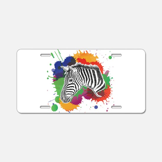Zebra with Colorful Splash Aluminum License Plate