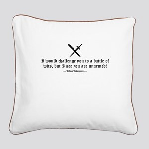 A Battle of Wits Square Canvas Pillow