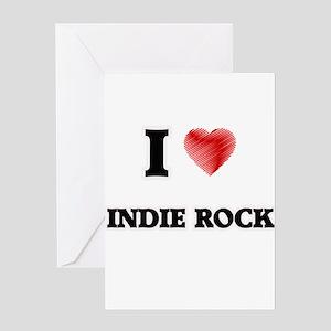 I Love Indie Rock Greeting Cards