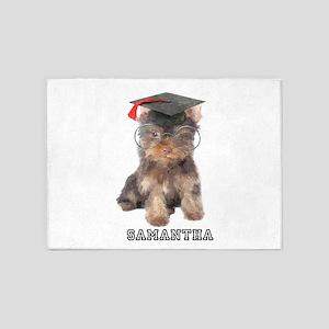 Graduation Yorkshire Terrier 5'x7'Area Rug