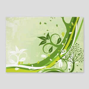 Decorative Green Floral 5'x7'Area Rug