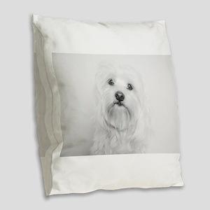 Coton de Tulear Head Tilt Burlap Throw Pillow