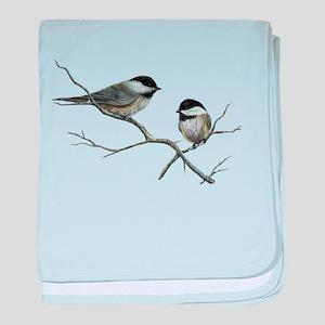 chickadee song birds baby blanket