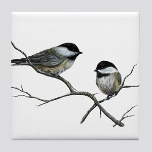 chickadee song birds Tile Coaster