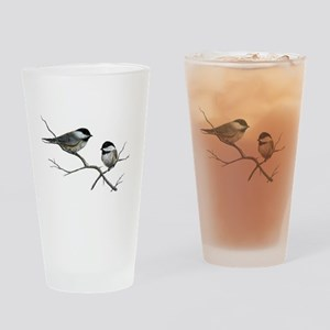 chickadee song birds Drinking Glass