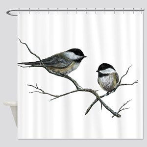 chickadee song birds Shower Curtain