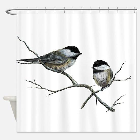 chickadee song birds Shower Curtain