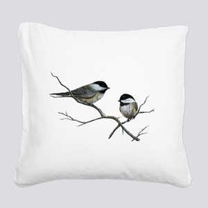 chickadee song birds Square Canvas Pillow