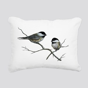 chickadee song birds Rectangular Canvas Pillow