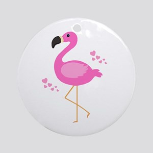 Pink Flamingo Hearts Round Ornament