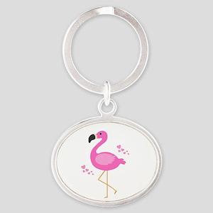 Pink Flamingo Hearts Keychains