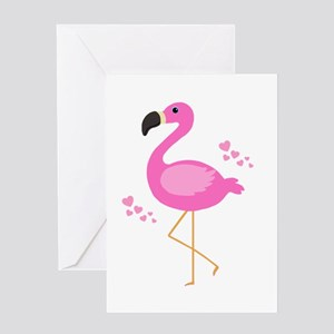 Pink Flamingo Hearts Greeting Cards