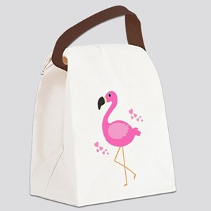 Pink Flamingo Hearts Canvas Lunch Bag