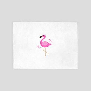 Pink Flamingo Hearts 5'x7'Area Rug