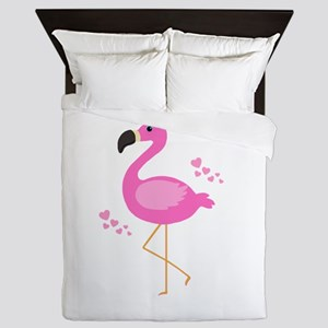 Pink Flamingo Hearts Queen Duvet