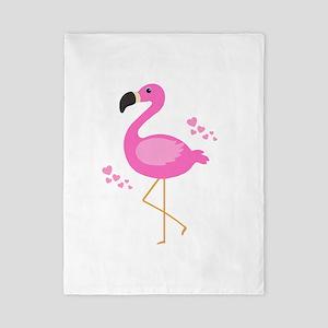 Pink Flamingo Hearts Twin Duvet