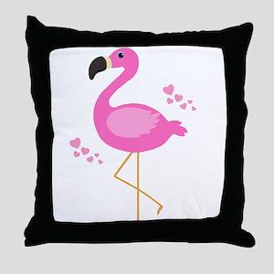 Pink Flamingo Hearts Throw Pillow