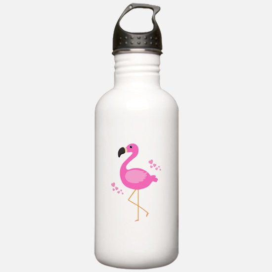 Pink Flamingo Hearts Water Bottle