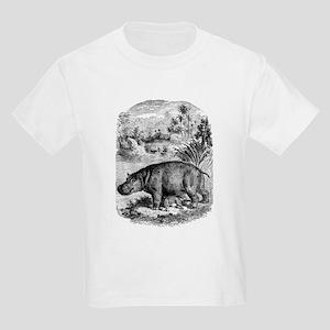 Vintage Hippopotamus Baby Hippo Black Whit T-Shirt