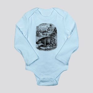 Vintage Hippopotamus Baby Hippo Black Wh Body Suit
