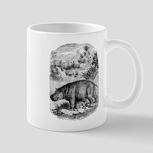Vintage Hippopotamus Baby Hippo Black White Mugs