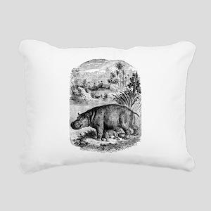 Vintage Hippopotamus Bab Rectangular Canvas Pillow