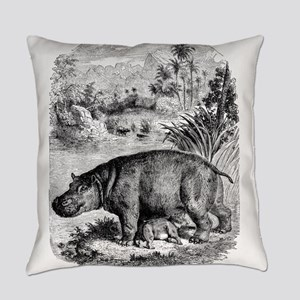 Vintage Hippopotamus Baby Hippo Bl Everyday Pillow
