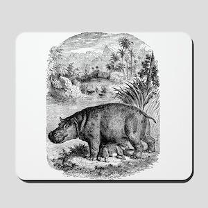 Vintage Hippopotamus Baby Hippo Black Wh Mousepad
