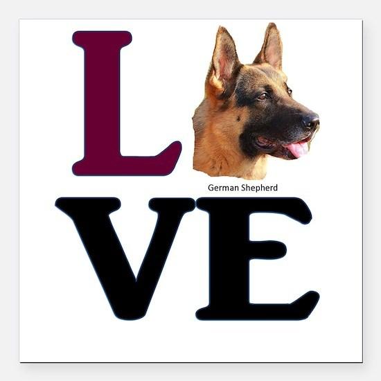 "Love German Shepherd Square Car Magnet 3"" x 3"""