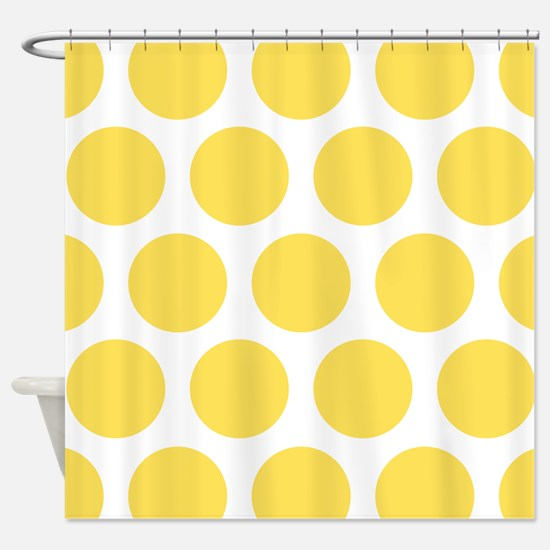 Yellow, Canary: Polka Dots Pattern Shower Curtain