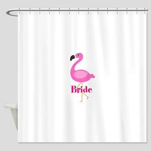 Bride Pink Flamingo Shower Curtain