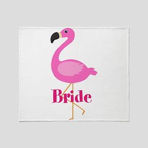Bride Pink Flamingo Throw Blanket