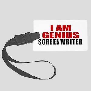 I Am Genius Screenwriter Large Luggage Tag