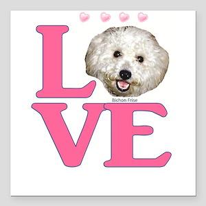 "LOVE Bichon Frise Square Car Magnet 3"" x 3"""