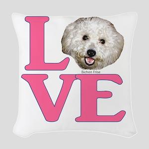 LOVE Bichon Frise Woven Throw Pillow