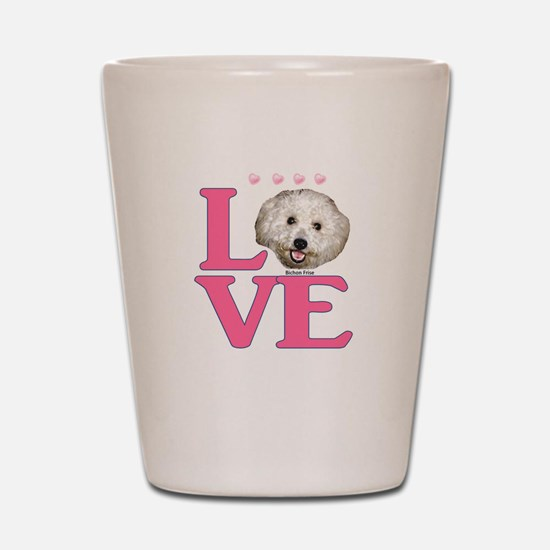 LOVE Bichon Frise Shot Glass