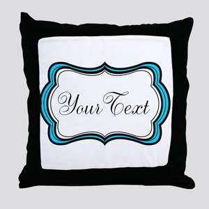 Personalizable Teal Black White Throw Pillow
