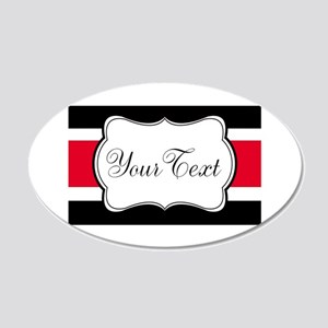Personalizable Red Black White Stripes Wall Decal