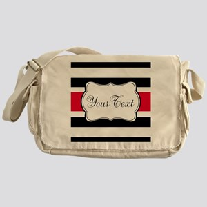 Personalizable Red Black White Stripes Messenger B