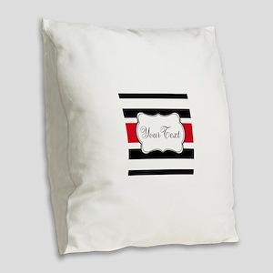 Personalizable Red Black White Stripes Burlap Thro
