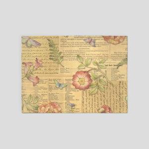 Vintage Floral Print 5'x7'Area Rug