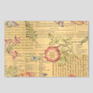 Vintage Floral Print Postcards (Package of 8)