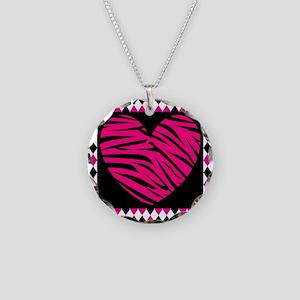 Pink Heart Zebra on Diamonds Necklace
