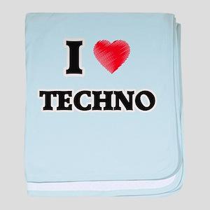 I Love Techno baby blanket