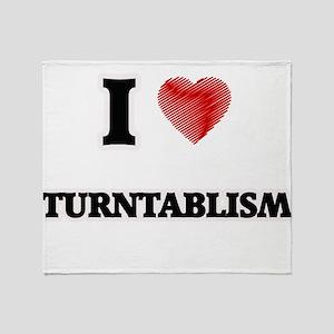 I Love Turntablism Throw Blanket