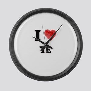 I Love Ye Large Wall Clock
